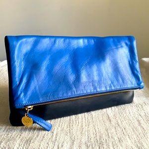 Clare V cobalt blue /navy leather foldover clutch.